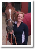 Hannah Booker pictured with horse at her Berkshire yard